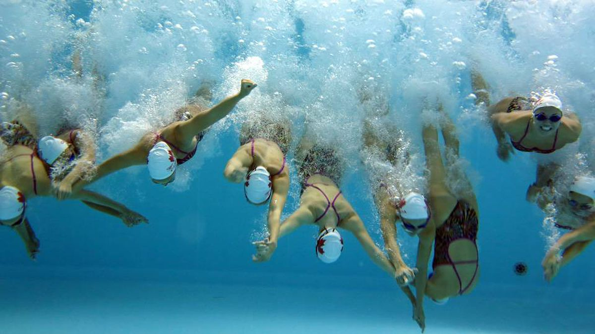 The team members dive into the pool hand-in-hand.