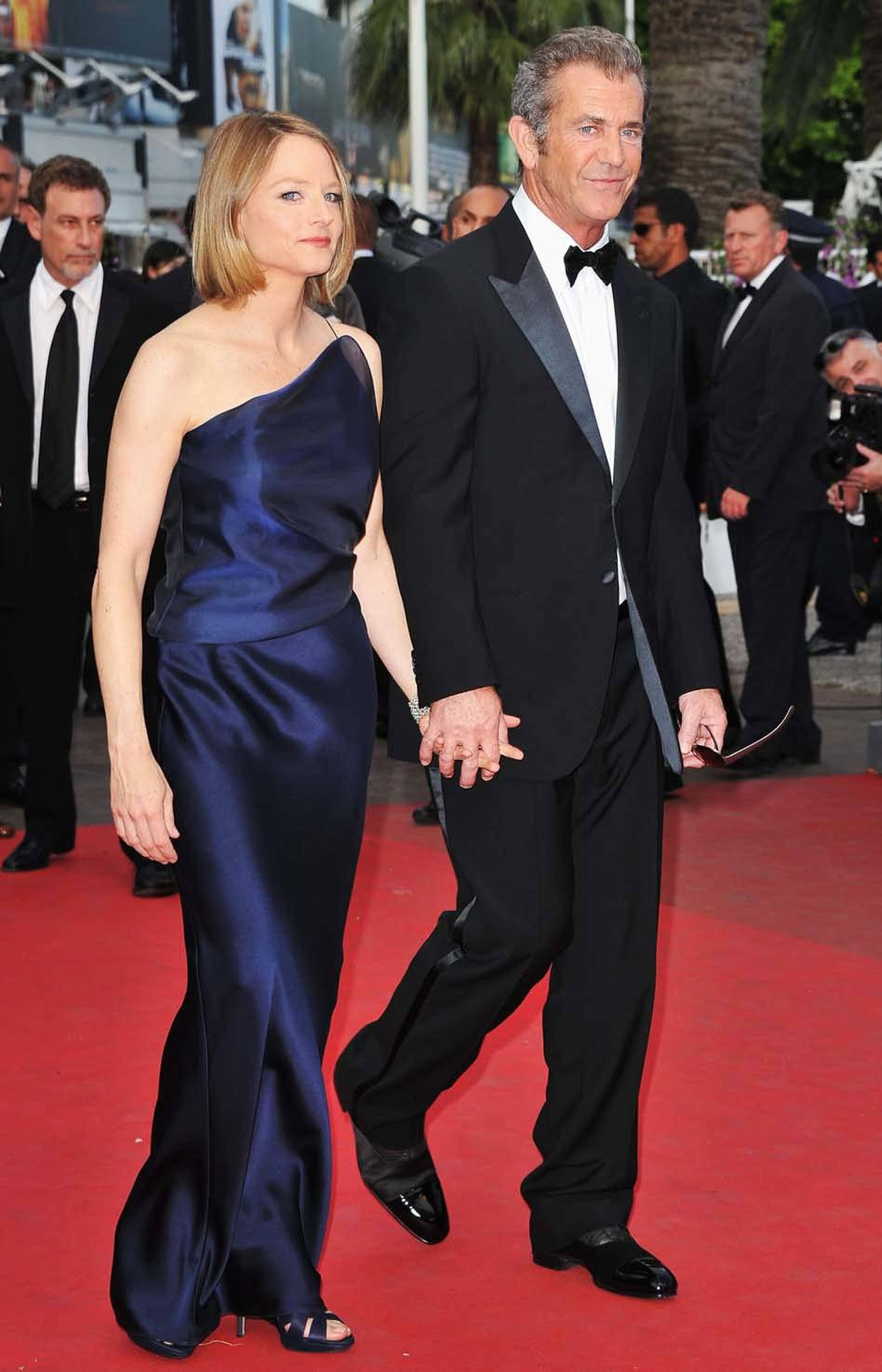 """Director Jodie Foster and actor Mel Gibson innocently and completely uncreepily lock fingers at the premiere of """"The Beaver"""" at the Cannes Film Festival on Tuesday."""