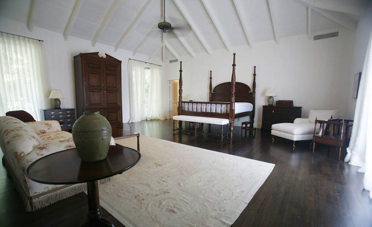 This photo taken Tuesday Sept. 8, 2009 shows a tall, step-up bed sitting in the master bedroom of Bernard Madoff's Palm Beach, Fla. home. The house will be sold at public auction.