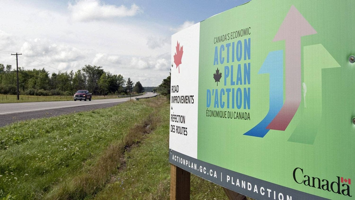 A government Economic Action Plan sign sits by a roadside near Mississippi Mills, Ont., in August 2010.