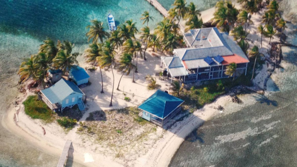 An aerial view of Carrie Bow caye - a tiny island that's home to the Smithsonian Institute's marine lab
