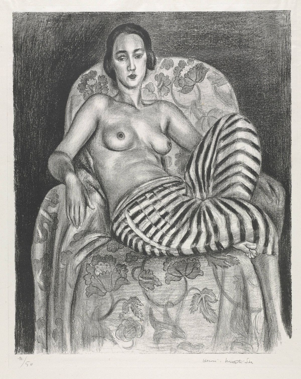 Henri Matisse, Large Odalisque with Striped Pantaloons, 1925, crayon transfer lithograph with scraping, The Baltimore Museum of Art: The Cone Collection, formed by Dr. Claribel Cone and Miss Etta Cone of Baltimore, Maryland, BMA