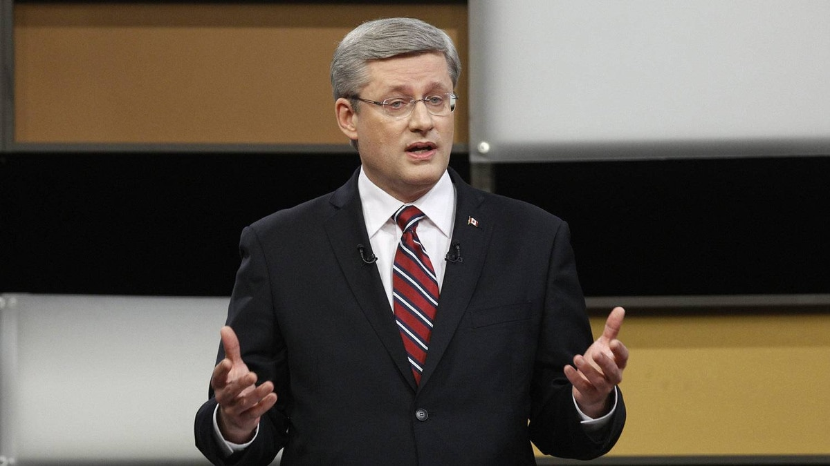Prime Minister Stephen Harper answers a question during the English language federal election debate in Ottawa Ont., on Tuesday, April 12, 2011.
