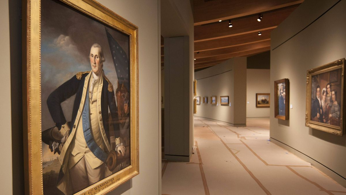 A portrait of George Washington, painted by Charles Willson Peale, is on display Crystal Bridges Museum of American Art in Bentonville, Ark.