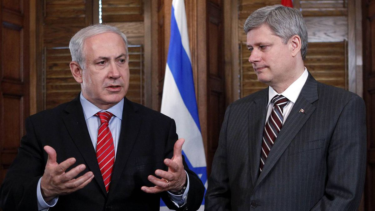 Israeli Prime Minister Benjamin Netanyahu, speaks during a meeting with Canadian Prime Minister Stephen Harper in Harper's office on Parliament Hill in Ottawa on May 31, 2010.