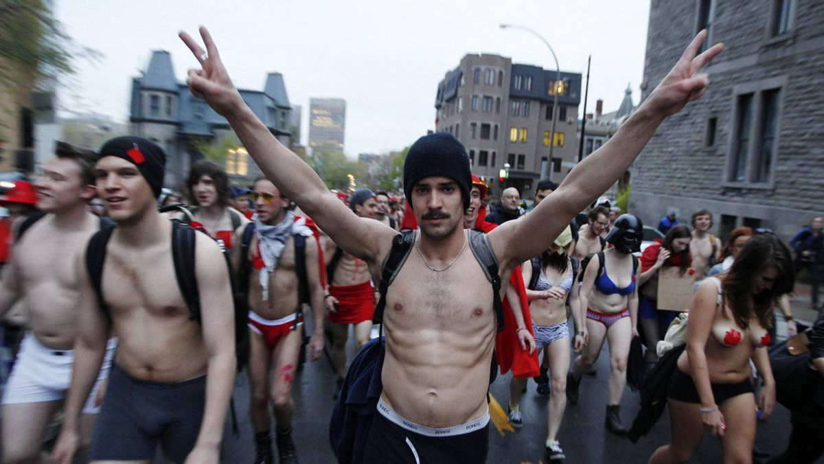 Students march against tuition hikes during a protest in downtown Montreal on May 3, 2012. Christinne Muschi/Reuters