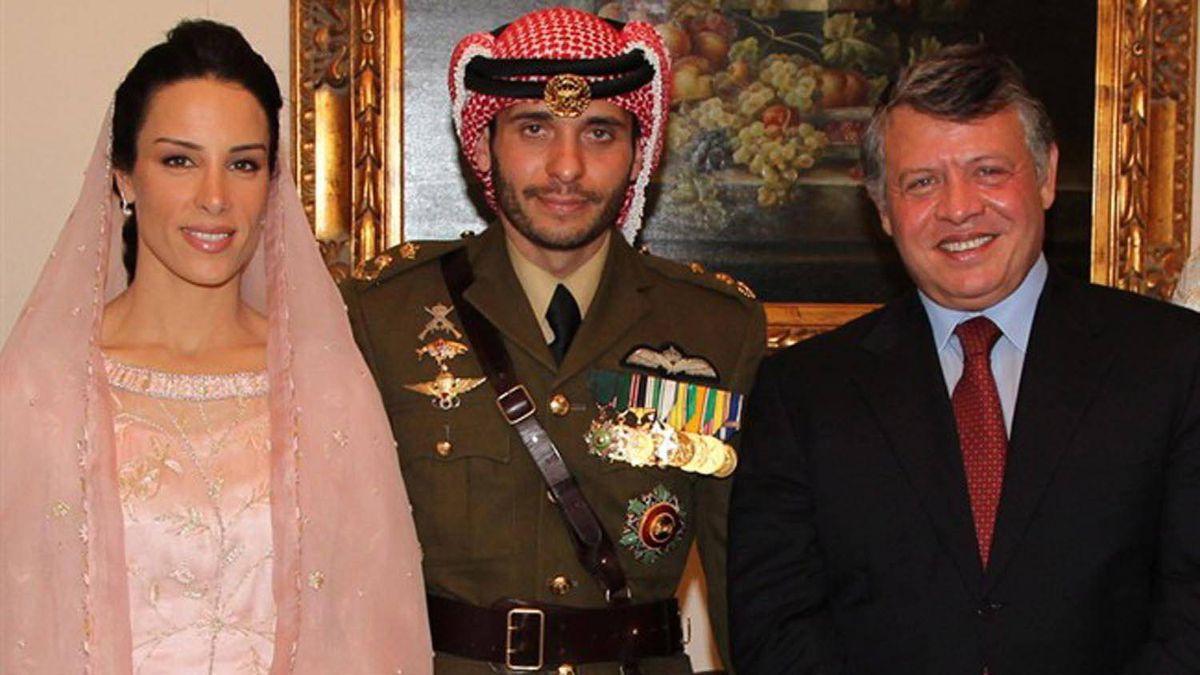 Princess Basmah al Hussein, formerly Basmah Hasan of Stratford, Ont., left, and groom Prince Hamzah al Hussein of Jordan are seen with Jordan's King Abdullah II.