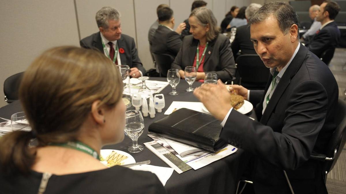 Networking during lunch break at the Small Business Summit held at the MaRS Discovery District in Toronto on Nov. 8, 2011.