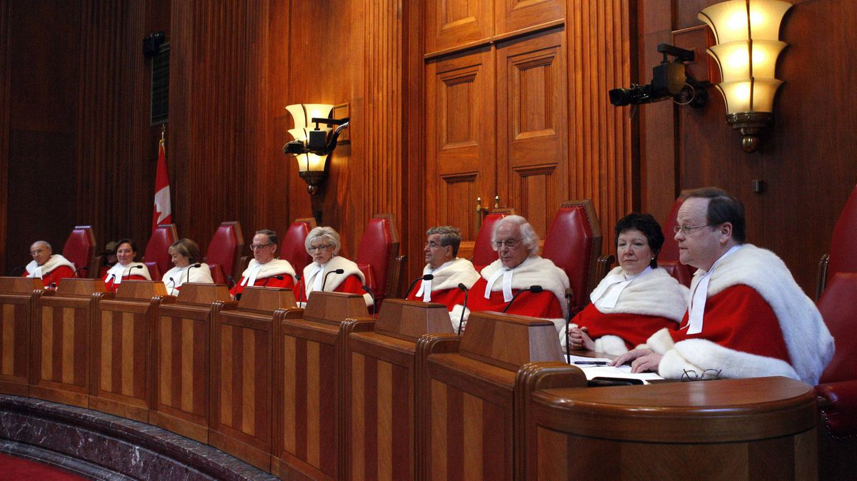Supreme Court of Canada judges are shown at a ceremony at the Supreme Court in Ottawa in 2009.
