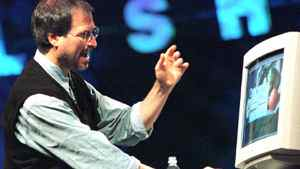 Steve Jobs, former CEO of Apple Computer, talks about color accuracy on computers at the Seybold publishing conference Thursday, Oct. 2, 1997, in San Francisco.