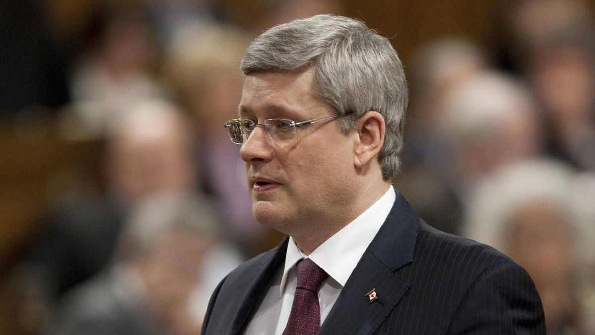 Prime Minister Stephen Harper rises during Question Period in the House of Commons on Parliament Hill in Ottawa, Feb. 27, 2012.
