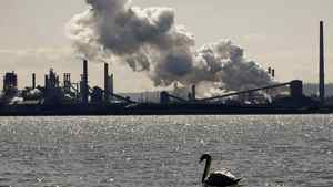 Steam billows from the U.S. Steel Canada mill, formerly Stelco, in Hamilton, Ont.