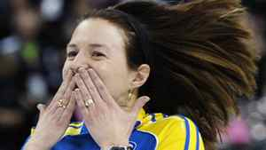 Alberta skip Heather Nedohin reacts to their win over Mantitoba during the semi-final game at the Scotties Tournament of Hearts curling championship in Red Deer, Alberta February 25, 2012. REUTERS/Todd Korol