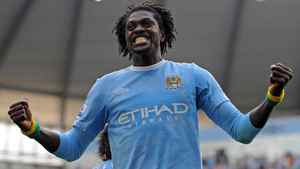 Manchester City striker Emmanuel Abebayor celebrates after scoring for his new club after signing from Arsenal in the close-season.