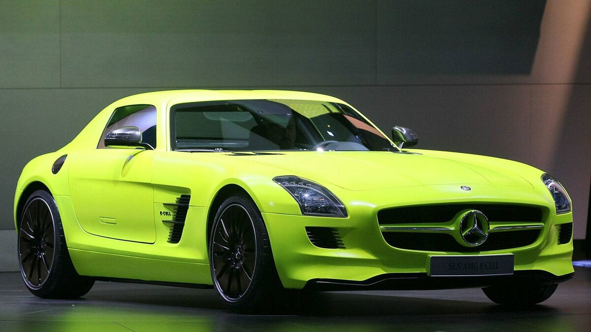 Mercedes-Benz introduces the SLS AMG E-Cell car at the 2011 Detroit auto show.