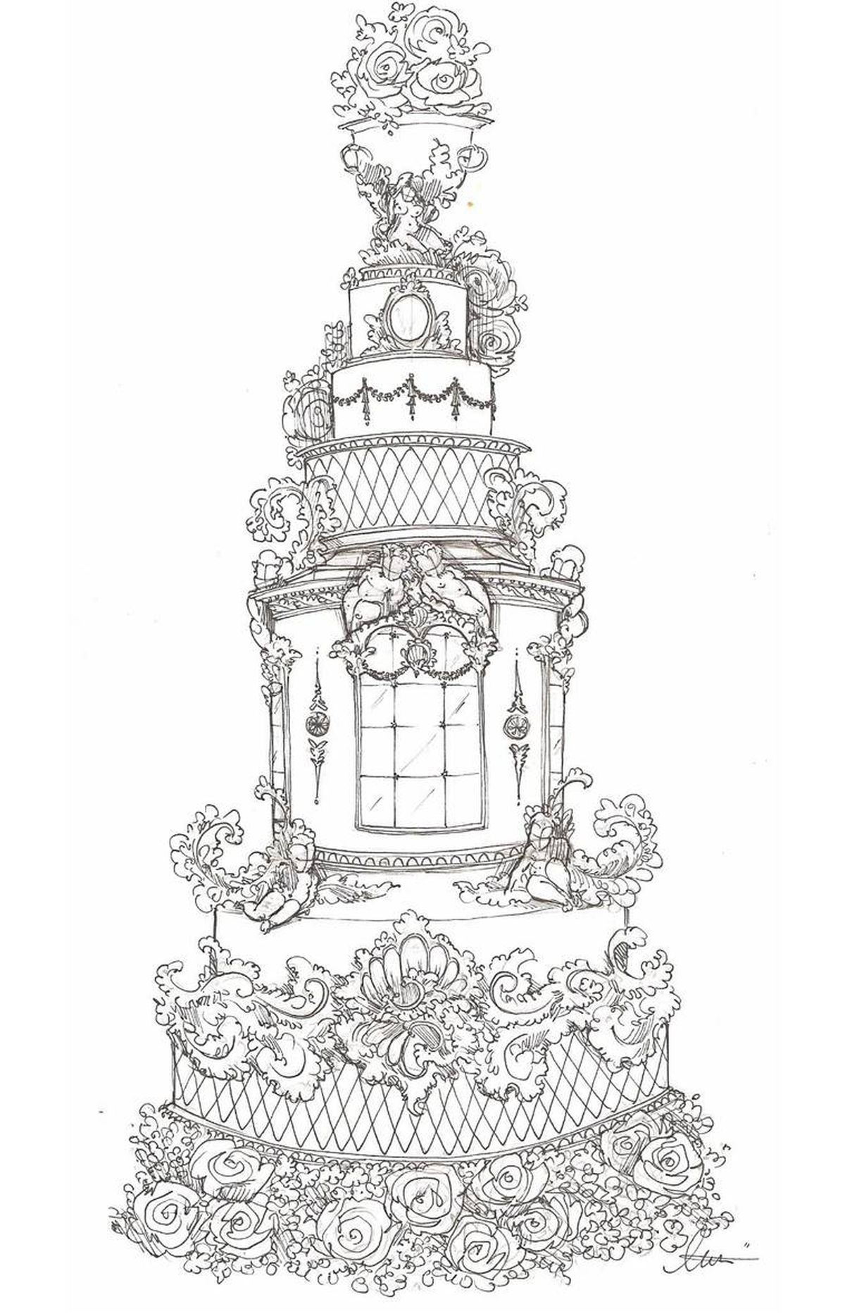 """Alexandria Pellegrino of Cake Opera Co., Toronto This royal wedding cake was inspired by a room styled in the Belle Epoque period in Buckingham Palace. It would be made in a very pale, moss-green fondant and the bas relief architectural mouldings would be created from gum paste and painted in 24-karat edible gold. The urn topper, the feminine figure at its base and the cherubs throughout the cake would be sculpted by hand from gum paste and applied to the cake using royal icing. The centre tier depicts a salon-style """"mirror"""" made from melted sugar poured and cast as tiles. Moss-green fresh flowers, including green roses, hydrangeas and chrysanthemums, would cover the entire base and cascade from the sugar topper. While Kate Middleton is clearly a fashion-forward woman, the cake still feels like a regal wedding cake."""