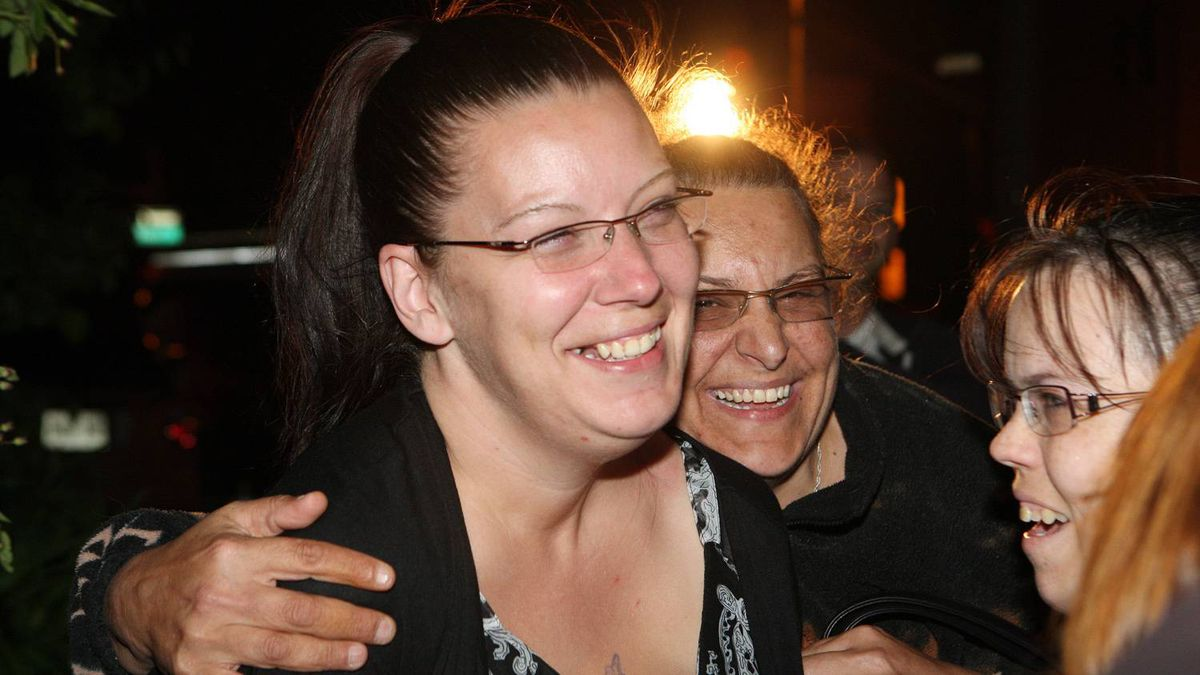 Tara McDonald, mother of slain Victoria Stafford celebrates with friends that Michael Rafferty was found guilty on all three charges at the murder trial in London, Ontario, Friday, May 11, 2012.