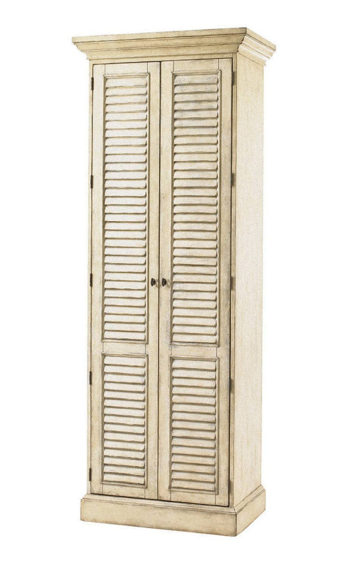 Barrymore's handsome antique-inspired Hartley Cabinet contains two lower drawers and up to 10 shelves hidden behind a pair of dramatic full-length louvered doors. $2,960 at Barrymore Furniture (www. barrymorefurniture.com).