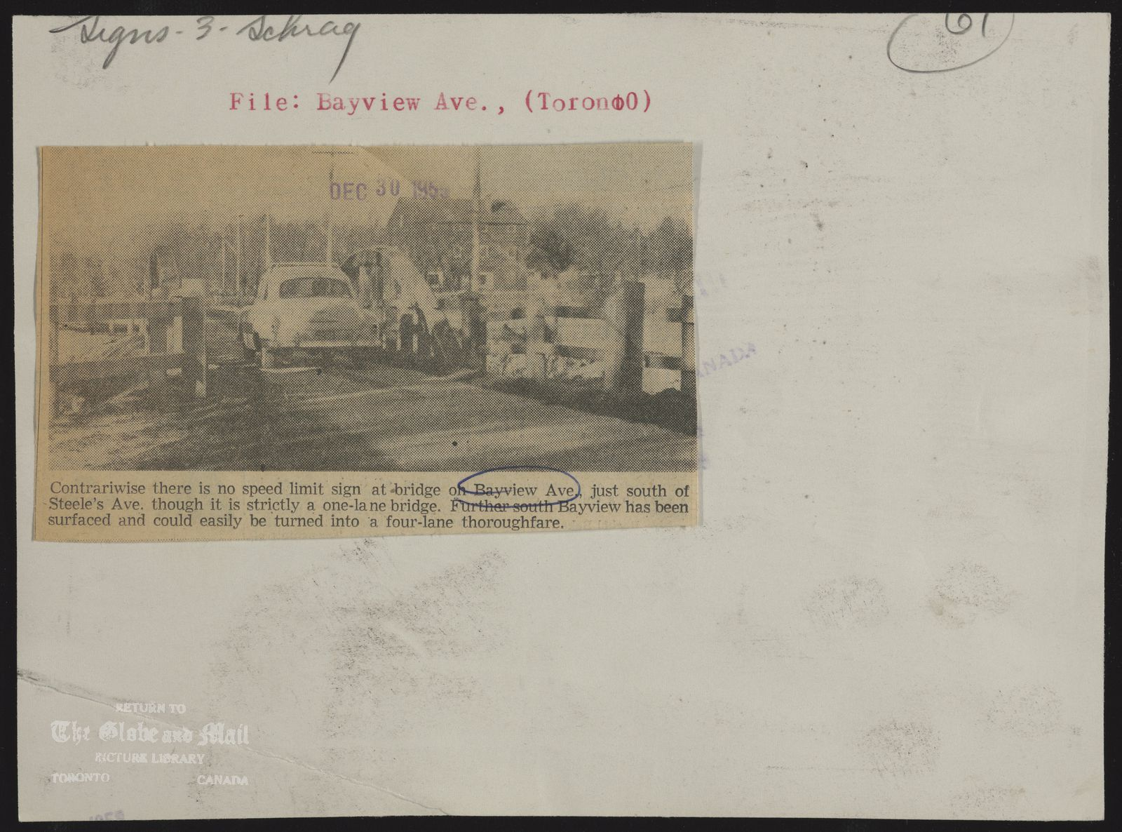 The notes written and typed on the back of this photograph, from the time it was printed, are as follows: Bayview Ave, (Toronto ) Contrariwise there is no speed limit sign at bridge on Bayview Ave, just south of Steele's Ave. though it is strictly a one lane bridge. Further south Bayview has been Surfaced and could easily be turned into a four-lane thoroughfare. 1955. Toronto; Bayview Avenue, one-lane bridge south of Steeles. Accession#: 55360-4December 30, 1955,Lex Schrag