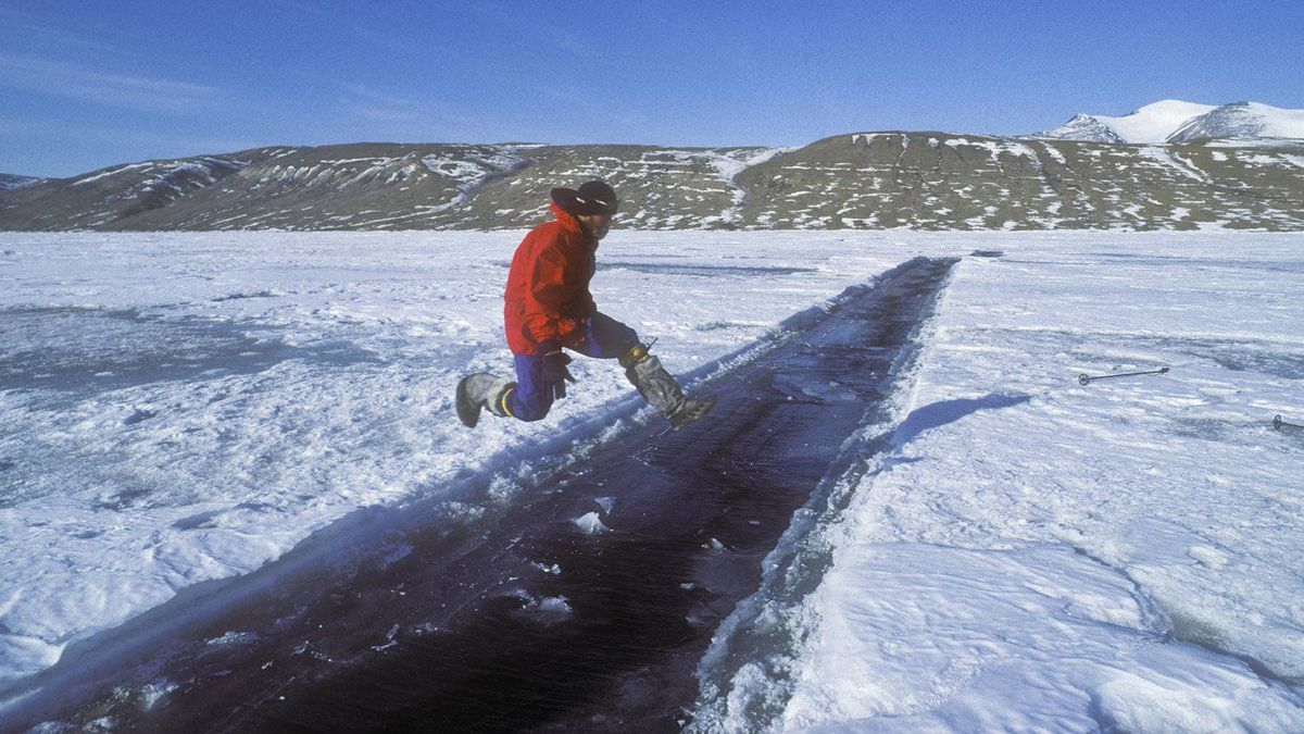 """In the late spring in the High Arctic, cracks in the sea ice called """"leads"""" can form. At first the leads are narrow and may be vaulted across ..."""