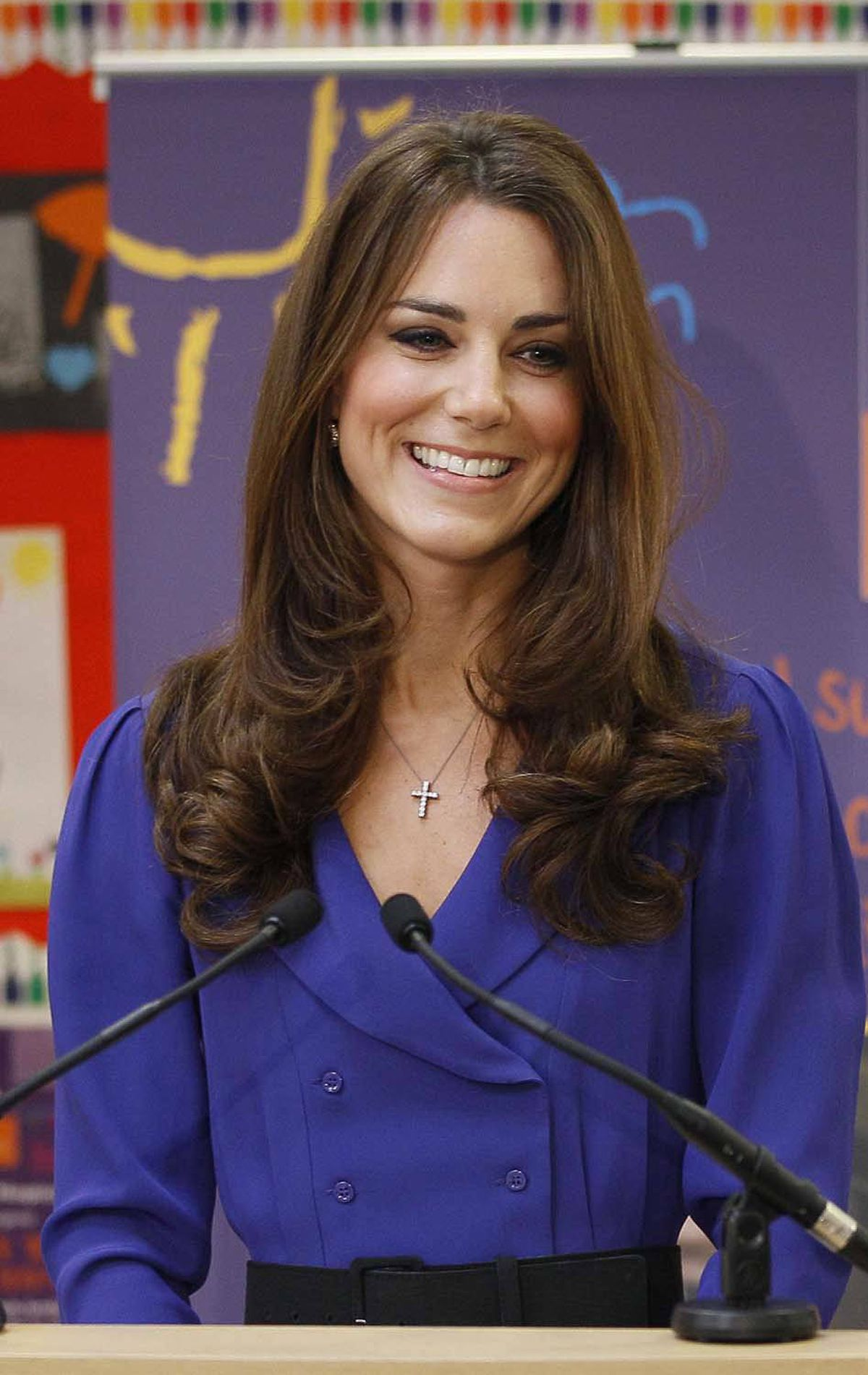 The Duchess dons a Reiss dress dating back to 2008 for her first official speech on March 19 at the Treehouse in Ipswich, England.
