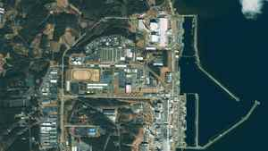 This GeoEye's IKONOS satellite image was taken over the Fukushima Daiichi nuclear power plant in Japan at 10:19 am (Tokyo time) on March 17, 2011 and released to Reuters on March 17. Towers 1, 3 and 4 are clearly distinguishable.