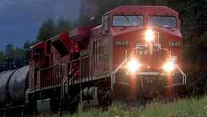 A Canadian Pacific Railway train makes its way through the Alberta Rockies in August of 2001.