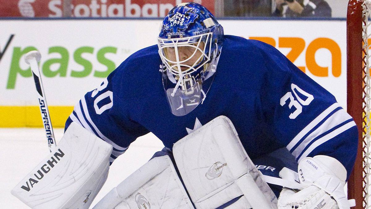 Ben Scrivens follows the play along the boards in the first period of their NHL game in Toronto March 31, 2012.