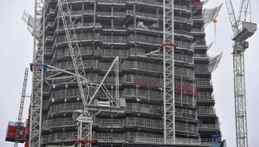 Construction work is seen on architect Renzo Piano's Shard tower at London Bridge in central London October 26, 2010.