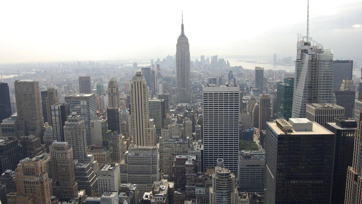 The New York City skyline.