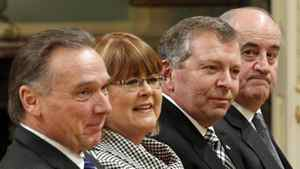 From left, Peter Kent, Diane Ablonczy, Ted Menzies and Julian Fantino at Rideau Hall for Tuesday's cabinet shuffle.