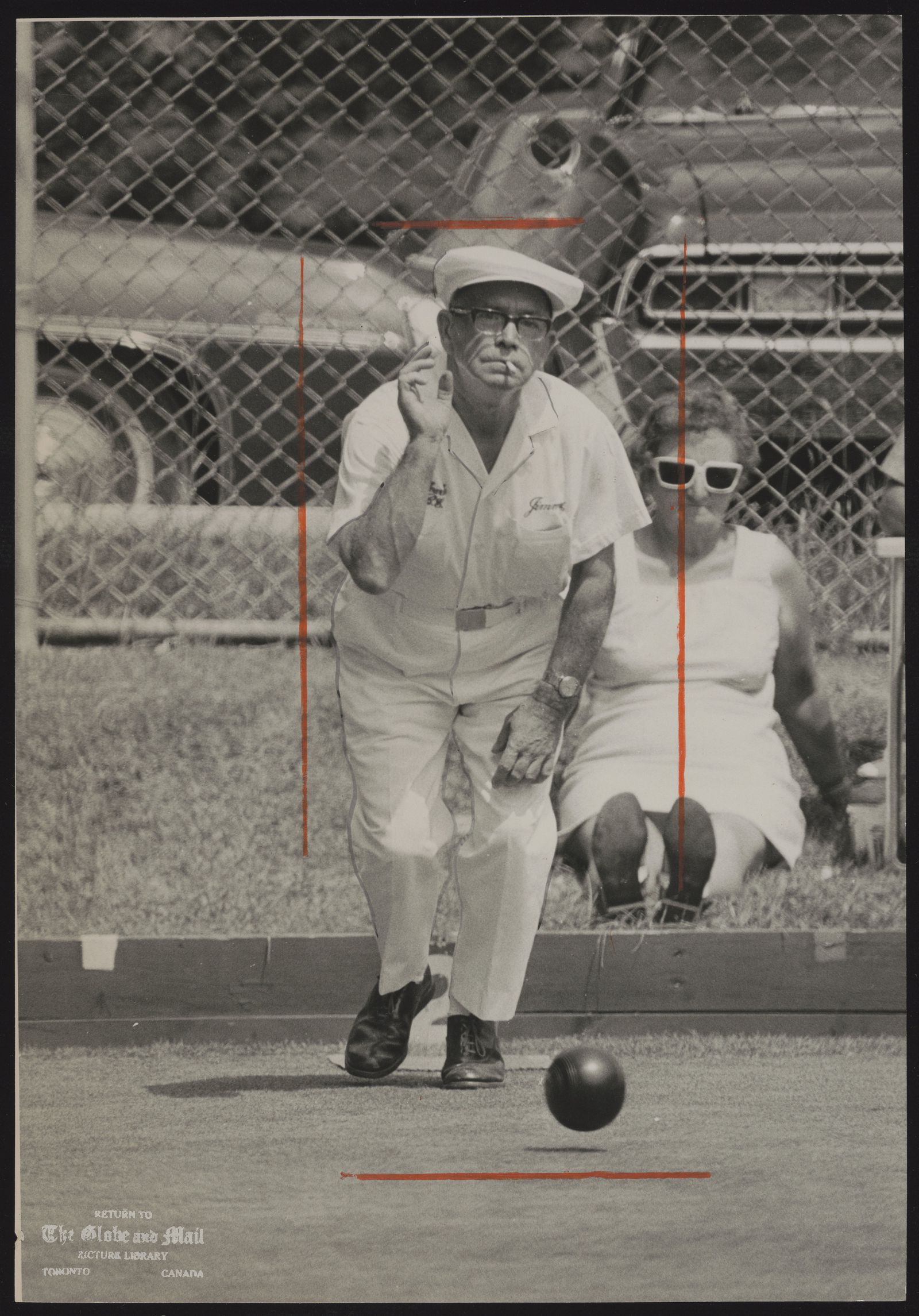 The notes transcribed from the back of this photograph are as follows: LAWN BOWLING Jimmy Welch. at Provincial Lawn Bowling tournament Welch, Bowls #1.