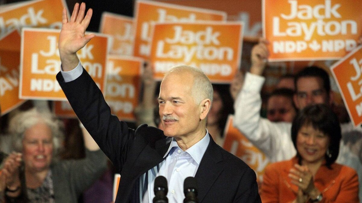 NDP Leader Jack Layton speaks to supporters at a campaign rally in Ottawa on April 13, 2011.