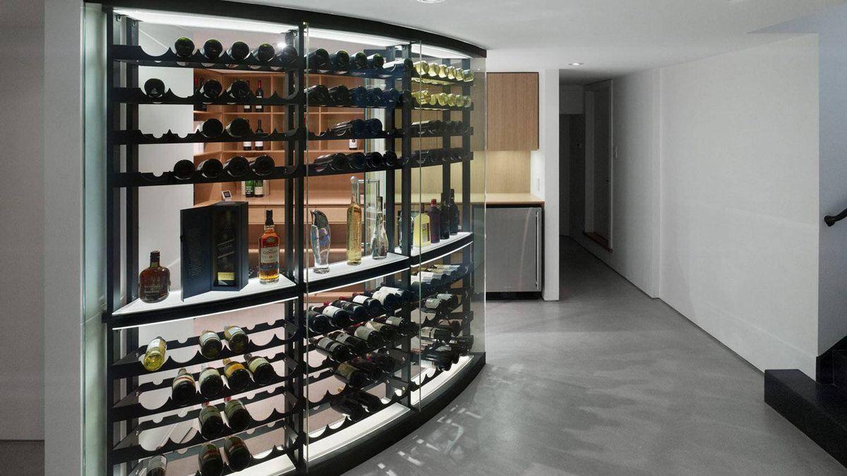 The basement wine room.
