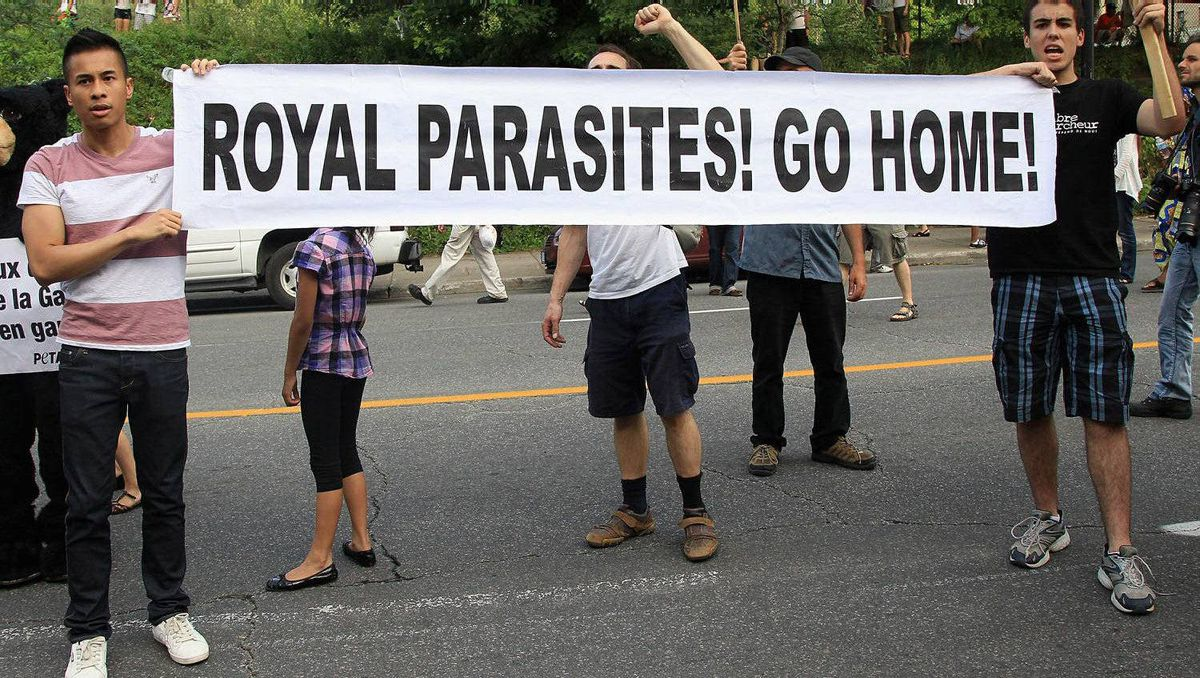 Protestors chant outside Sainte-Justine University Hospital on July 2, 2011 in Montreal, Canada.