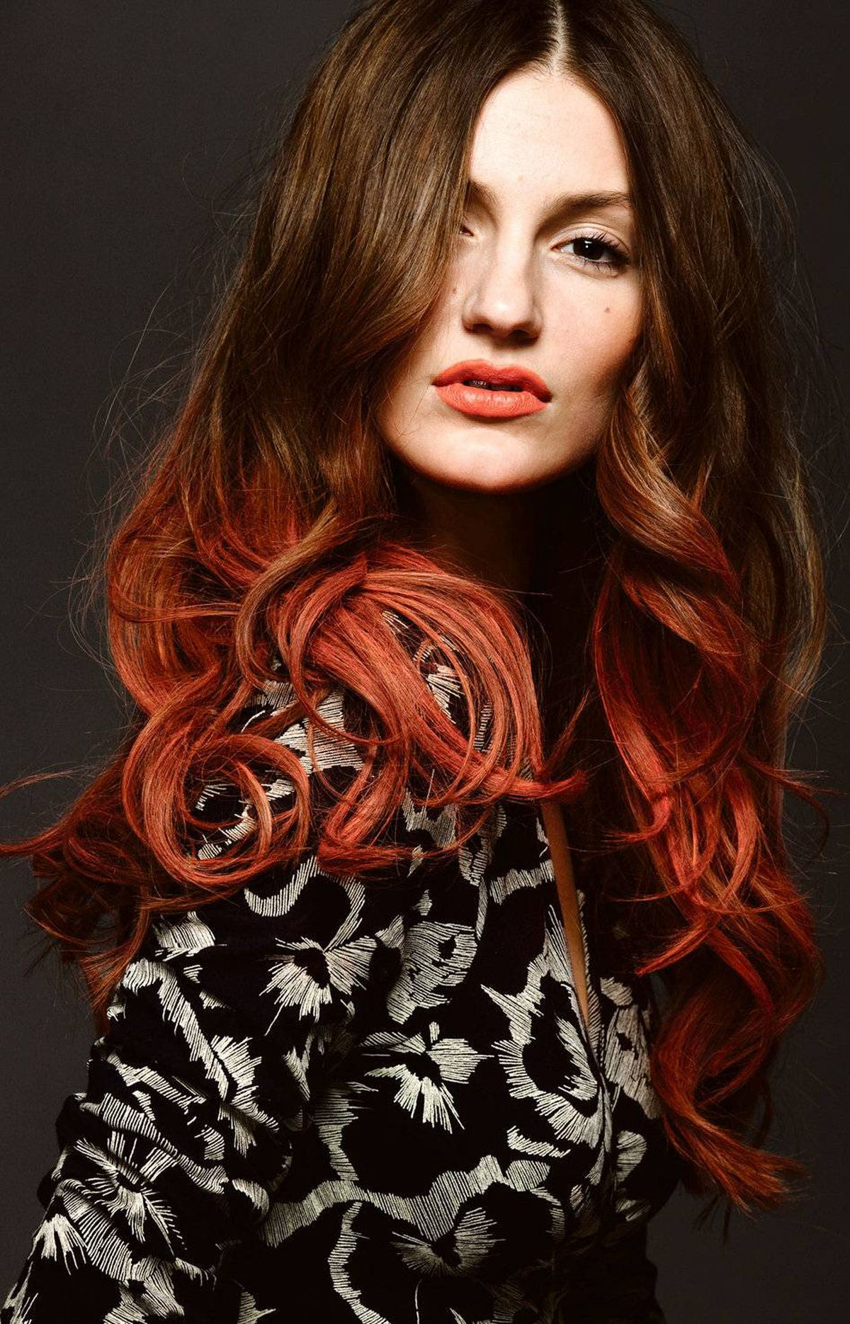 High-impact hair colour, the real way Kevin Murphy Color.Bug Hair Shadow in Orange ($22 at salons across Canada) BCBGMaxAzria dress, $268 through www.bcbg.ca.