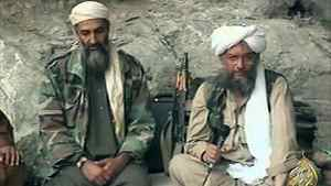 In this Oct. 7, 2001, file photo made from a video image, Osama bin Laden, left, and his top lieutenant, Egyptian Ayman al-Zawahri, are seen at an undisclosed location.