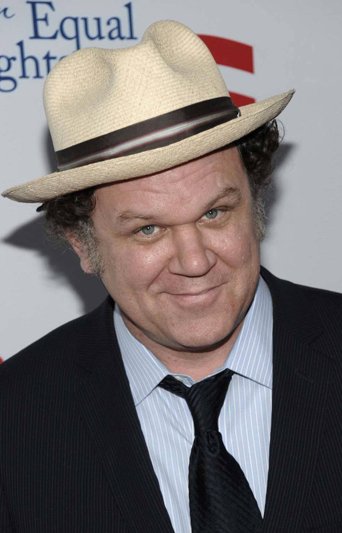 "John C. Reilly is impressed by Dean Del Mastro's chutzpah at the premiere of the play ""8"" in Los Angeles on Saturday."