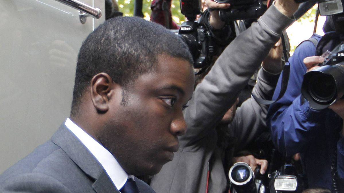 Former trader Kweku Adoboli, arrivies at City of London Magistrates' Court in London Thursday Sept. 22, 2011.