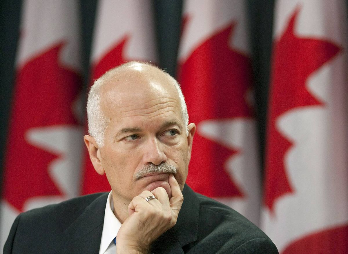 NDP Leader Jack Layton holds a new conference in Ottawa on Monday, Feb. 8, 2010.