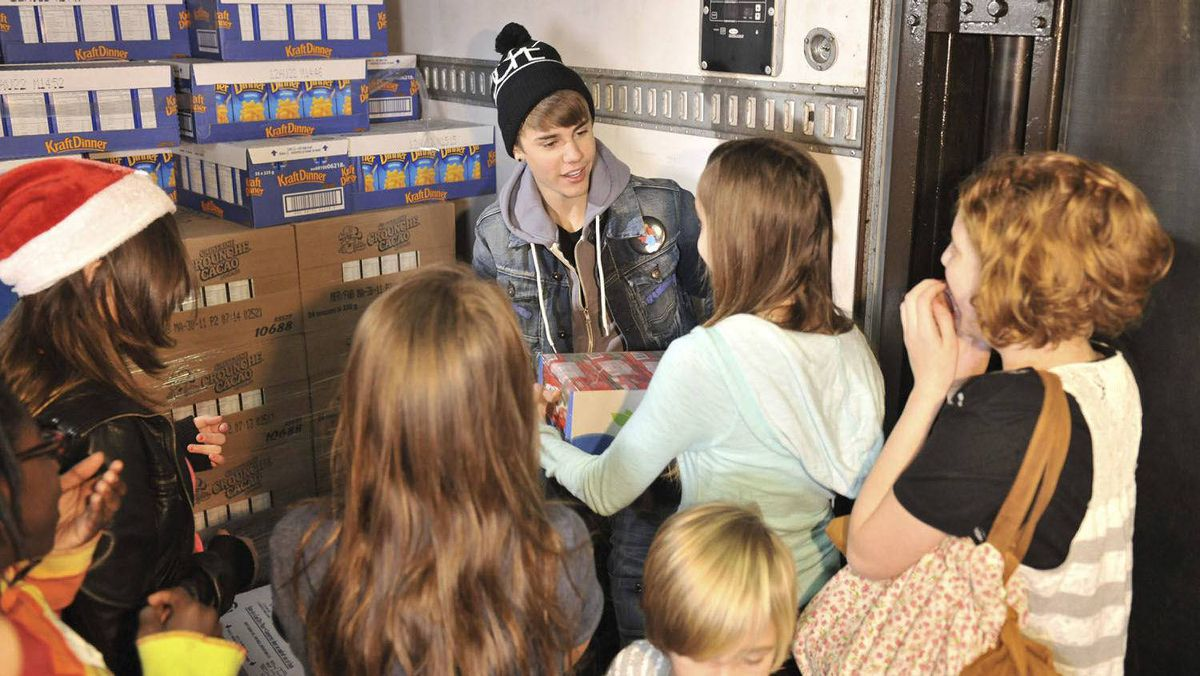 Justin Bieber spent part of his day in Toronto at the Daily Bread Food Bank.
