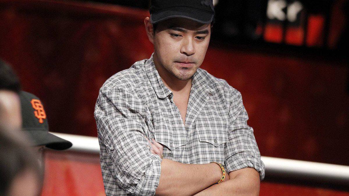 Khoa Nguyen, of Canada, competes in the main event at the World Series of Poker Tuesday, July 19, 2011, in Las Vegas.