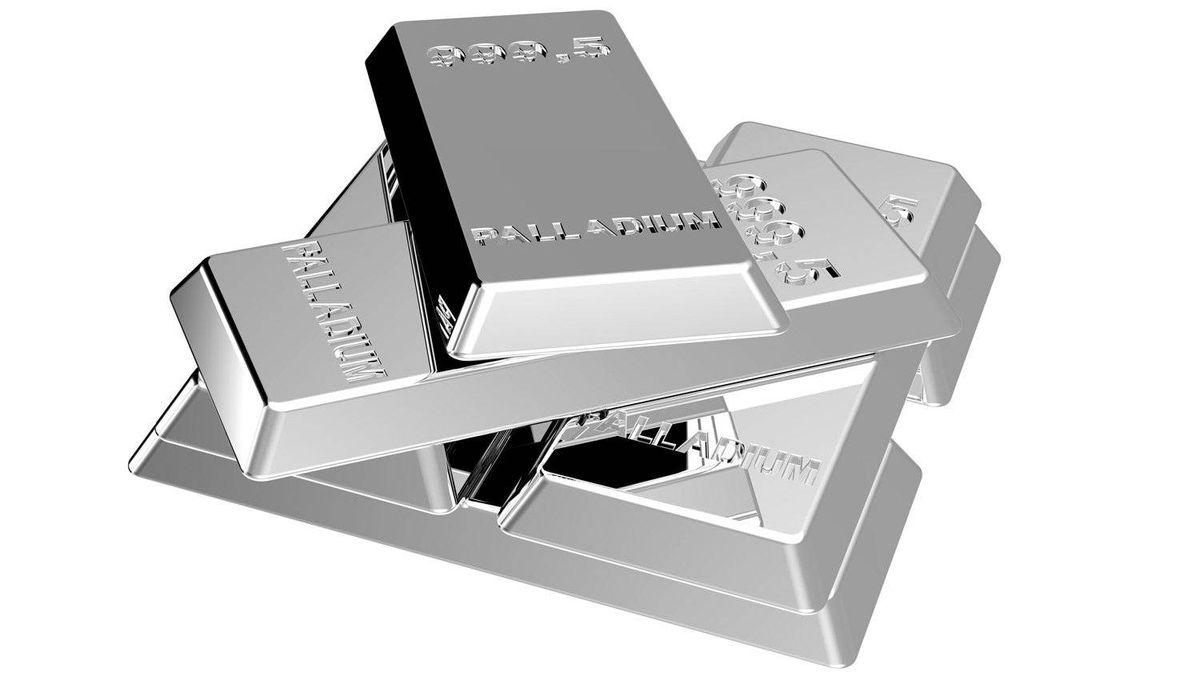 Bars of palladium, a precious metal.