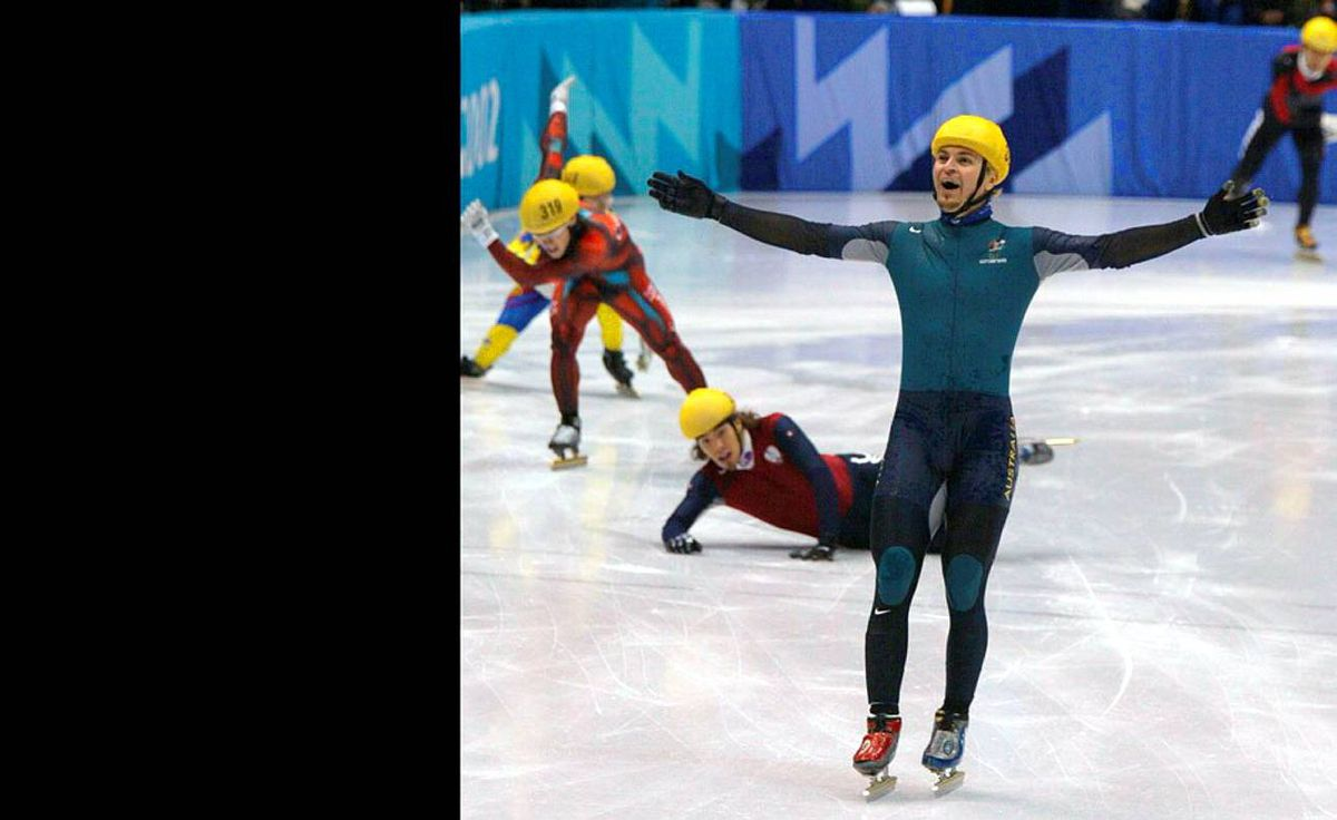 Australian long-track speed skater Steven Bradbury was the last man standing in the 1,000-metre final in Salt Lake City in 2002, capitalizing on a four-man collision on the final turn to coast home in first place, securing his country's first ever Winter Olympics gold medal in the process.