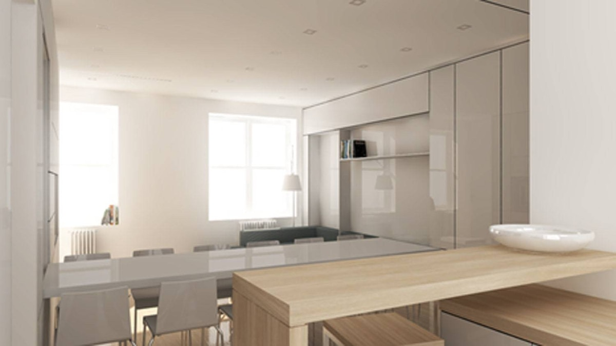 A dining space for 12, viewed from the kitchen.