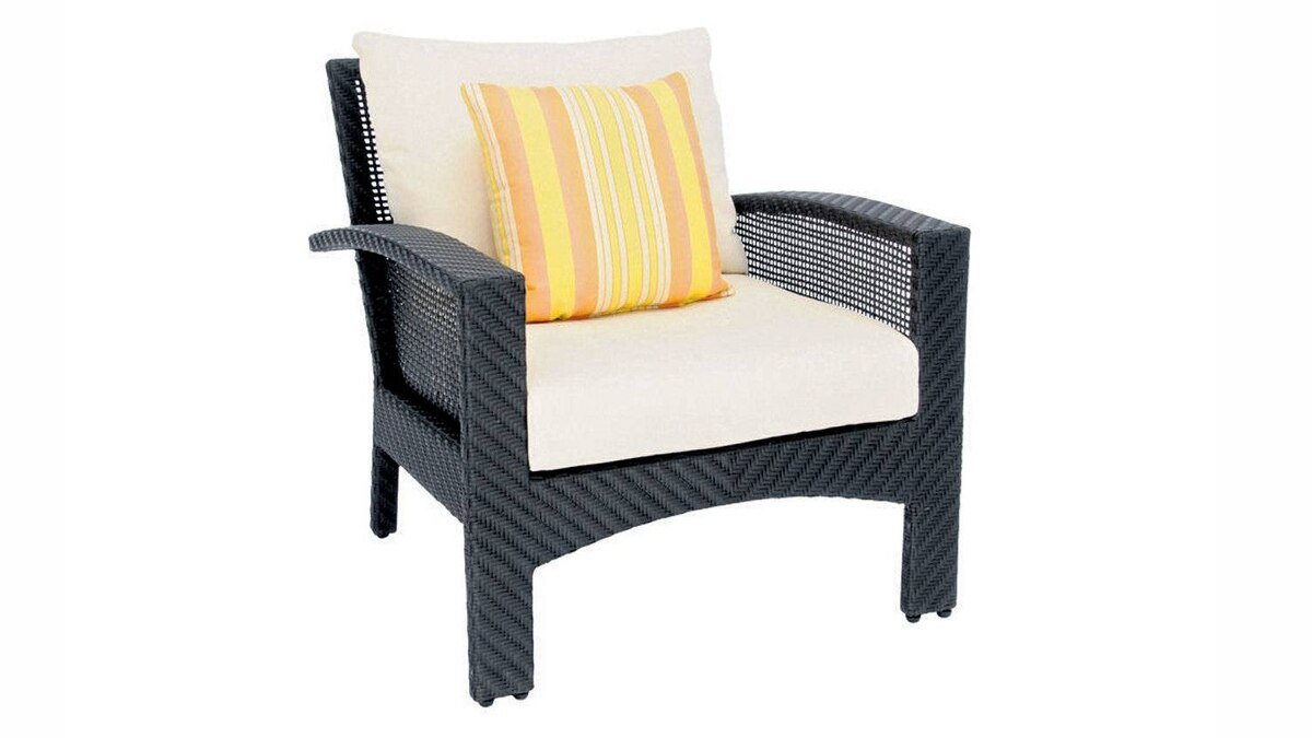 Andrew Richard Designs's Cedar Lounge Chair is made from Solartex, a hardy material composed of polyethylene and PVC fibres that mimics the look and feel of wicker with none of the hassle. $1,395 through www.andrewricharddesigns.com.