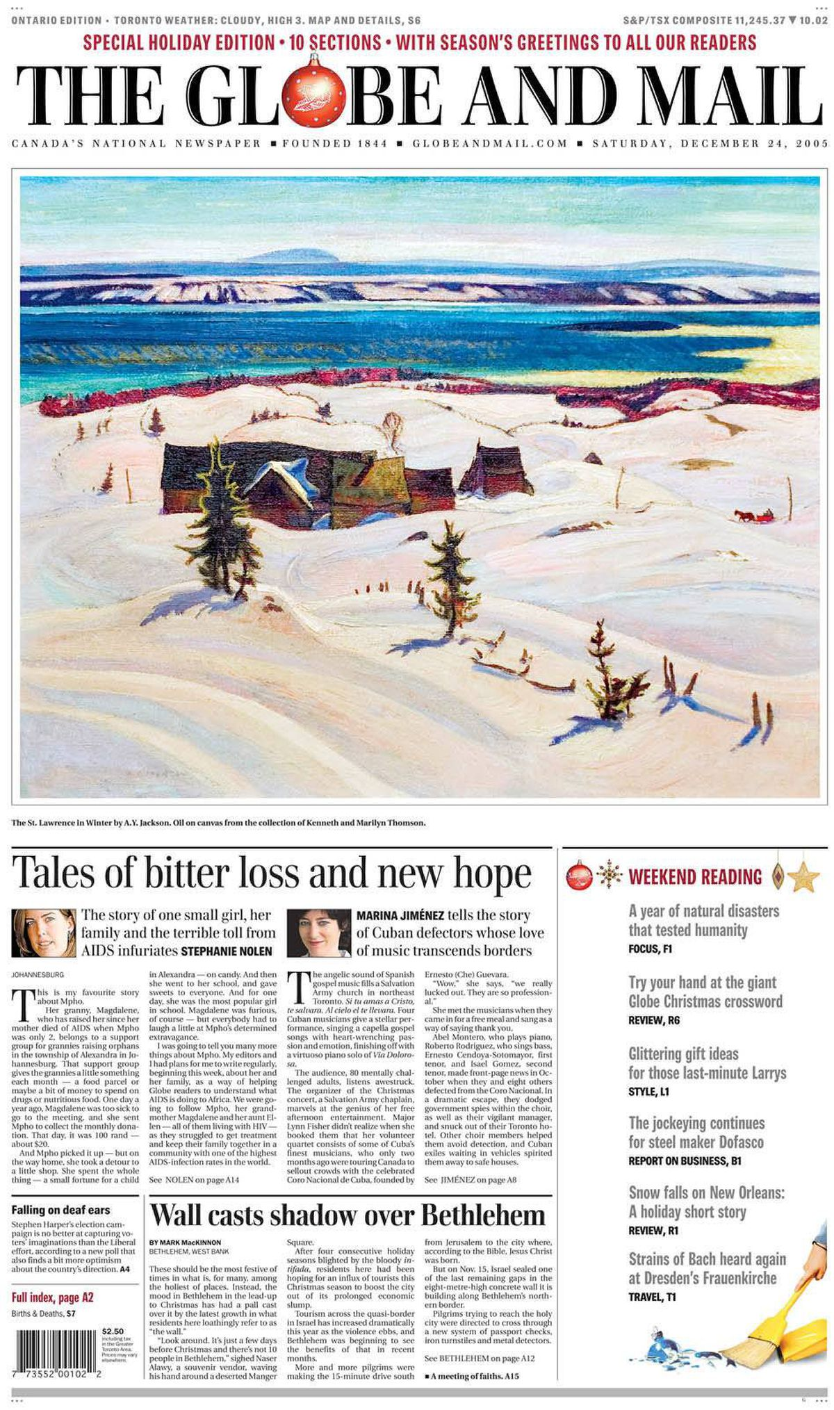 Cover of The Globe and Mail, Dec. 24, 2005
