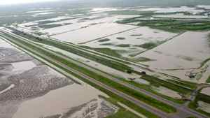 Sections of the Trans Canada highway remain closed and some are underwater east of Medicine Hat, Alta., Monday, June 21, 2010.