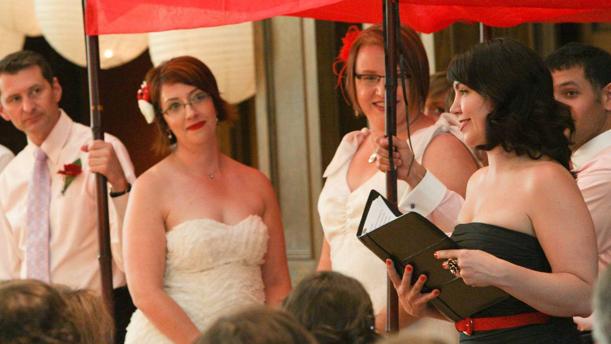 Ariel Troster sent us this photo of her wedding to Caitlyn Pascal, July 17, at the Glebe Community Centre in Ottawa. Photo by Glenn Lowson.