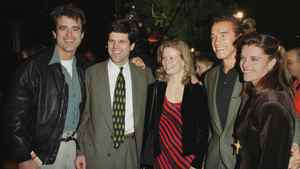 """Actor Arnold Schwarzenegger(2nd from R) and his wife Maria Shriver(R) arrive at the premiere of the Steven Spielberg movie """"Amistad"""" with family members Bobby Shriver(L), Timothy Shriver(2nd from L) and his wife(C), Dec. 8, 1997, in Beverly Hills. The film about a slave ship revolt stars Morgan Freeman and Anthony Hopkins."""